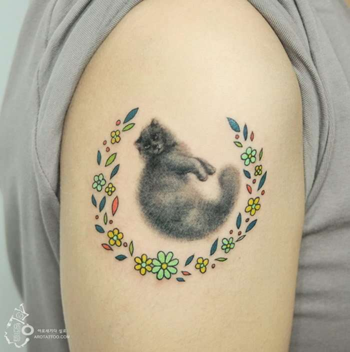 Цветочные татуировки корейских мастеров